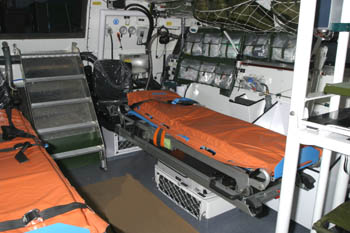 Interior view with stretchers, aft exit in the middle